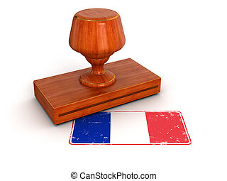 Rubber Stamp French flag.  Image with clipping path