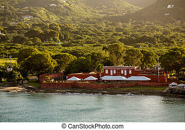 Old Red Fort on Green Coast of St Croix - An old red fort on...