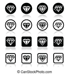 Diamond, luxury vector icons set - Diamonds black icons set...
