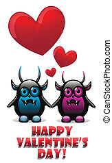 Valentine's day card with devils in