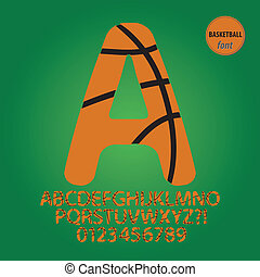 Basketball Ball Alphabet and Digit Vector