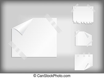 White stickers with scotch tape - Illustration of white...