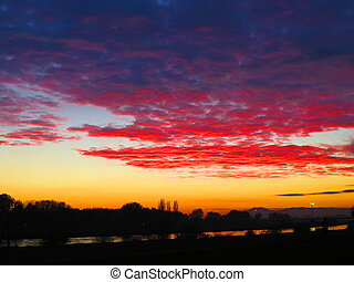Sunset over the river Sava - Beautiful sunset in the city of...