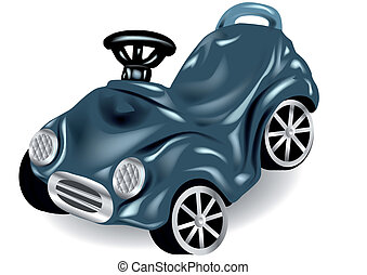 children car - children's car isolated on white.10 EPS