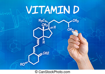 Hand with pen drawing the chemical formula of vitamin d