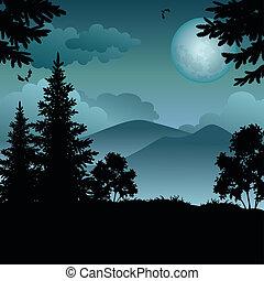 paesaggio, albero, luna, montagne