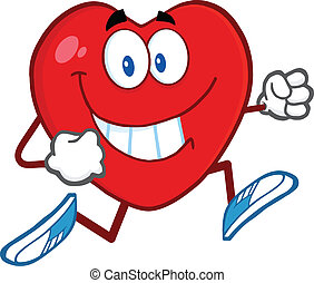 Smiling Heart Character Running - Smiling Heart Cartoon...