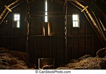 Up in the Hayloft - The two end windows, hay loft door and...