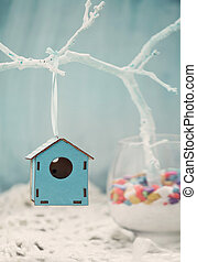Bird house - Spring decoration. Easter ornament.  Bird house