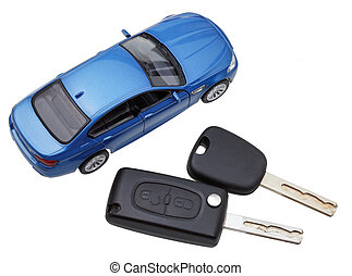 above view of two vehicle keys and model car isolated on...