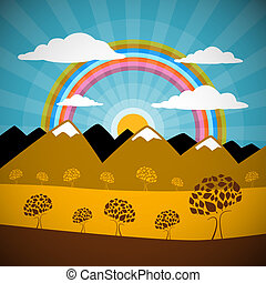 Abstract Nature Background with Mountains, Rainbow, Trees