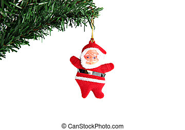 Santa hanging on branch Christmas tree - The Picture Santa...