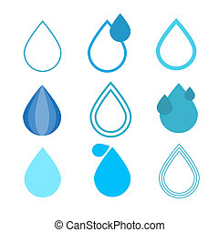 Blue Vector Water Drops Symbols Set