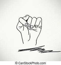 Fig fico hand sign, detailed black and white lines vector...