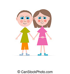 Boy and Girl Vector Illustration Isolated on white Background