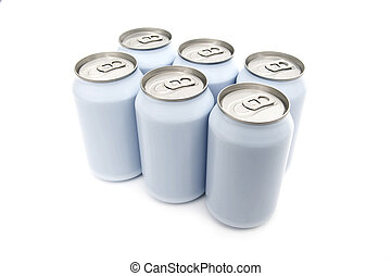 Six pack beverage cans - A six pac of off-white beverage...