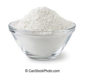 Flour - Glass bowl of wheat flour isolated on white