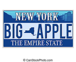 An imitation New York license plate with text BIG APPLE...