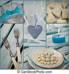 Valentines dinner collage - Restaurant series. Photo Collage...