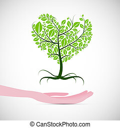Heart Shaped Abstract Green Tree in Human Hand