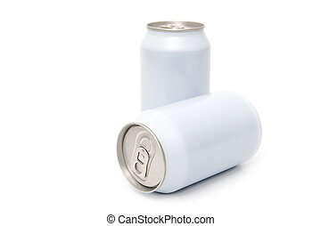 Two white beverage cans