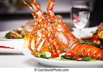 dish of lobster roasted - a luxury dish of lobster roasted...