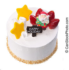 cake, Christmas ice cream cake on background