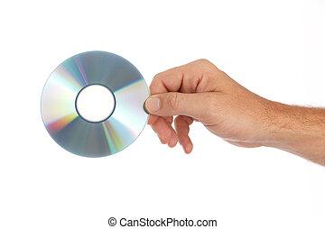 Dar, compacto, disco, hombre