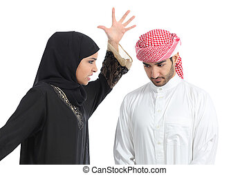 Arab couple with a woman arguing to her husband isolated on...
