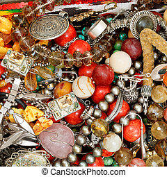 background from antique jewelry close up