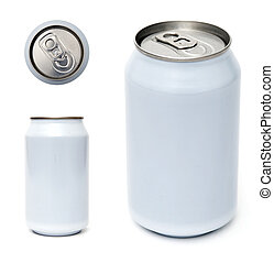 Beverage can template - Top, side and perspective view of...