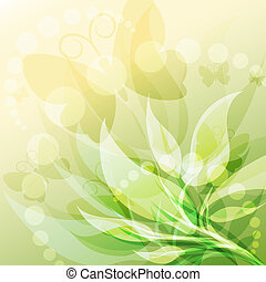 Spring is coming - Illustration with young leaves and...