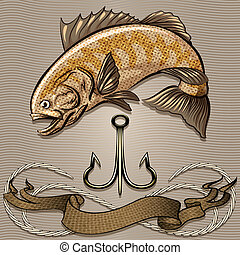 The fish and treble hook - Illustration with huge fish and...
