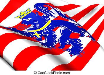 Flag of Bruges, Belgium. Close Up.