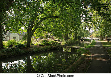 View of stream in Lower Slaughter, Cotswold, England