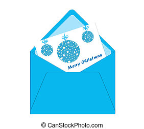 Merry Christmas card with envelope and balls in blue color