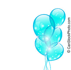 Flying blue balloons isolated on white background