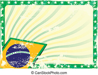 grungy brazilian flag background