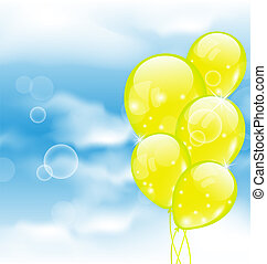Flying yellow balloons in blue sky - Illustration flying...