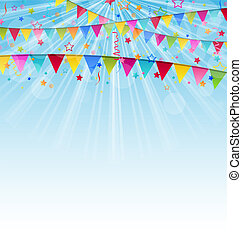 Holiday background with birthday flags and confetti -...