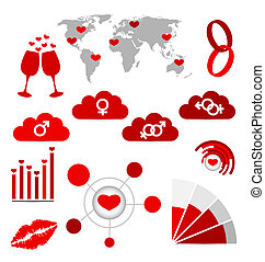 Valentine's Day infographics and wedding design elements