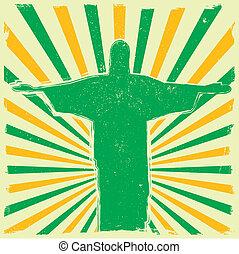 Jesus on grungy burst background - detailed illustration of...