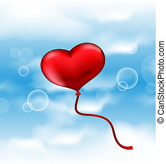Balloon in the shape of heart in blue sky