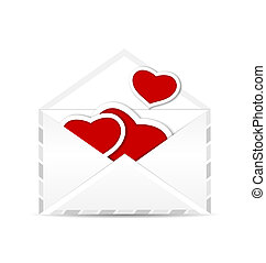 Envelope with set valentine red hearts