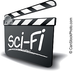clapper board sci-fi - detailed illustration of a clapper...