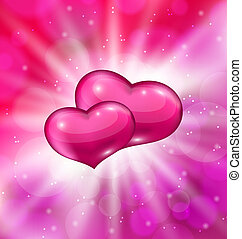 Shimmering background with beautiful hearts for Valentine...