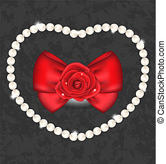 Red rose with bow and pearls for Valentine Day -...