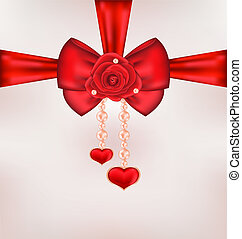 Red bow with rose, heart, pearls for card Valentine Day