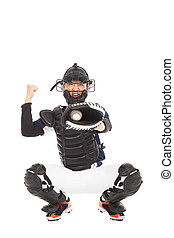 Baseball Player, Catcher, showing signal ,  strike out