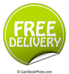 FREE DELIVERY round green sticker on white background